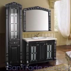 Комплект мебели Атолл Александрия 100 Black фасад каннелюры, камень
