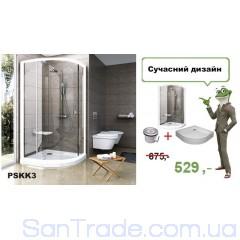 Душевая кабина с поддоном Ravak Pivot PSKK3 90 белый/transparent